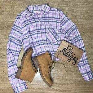 Lavender and Blue Plaid Flannel Shirt Size Medium